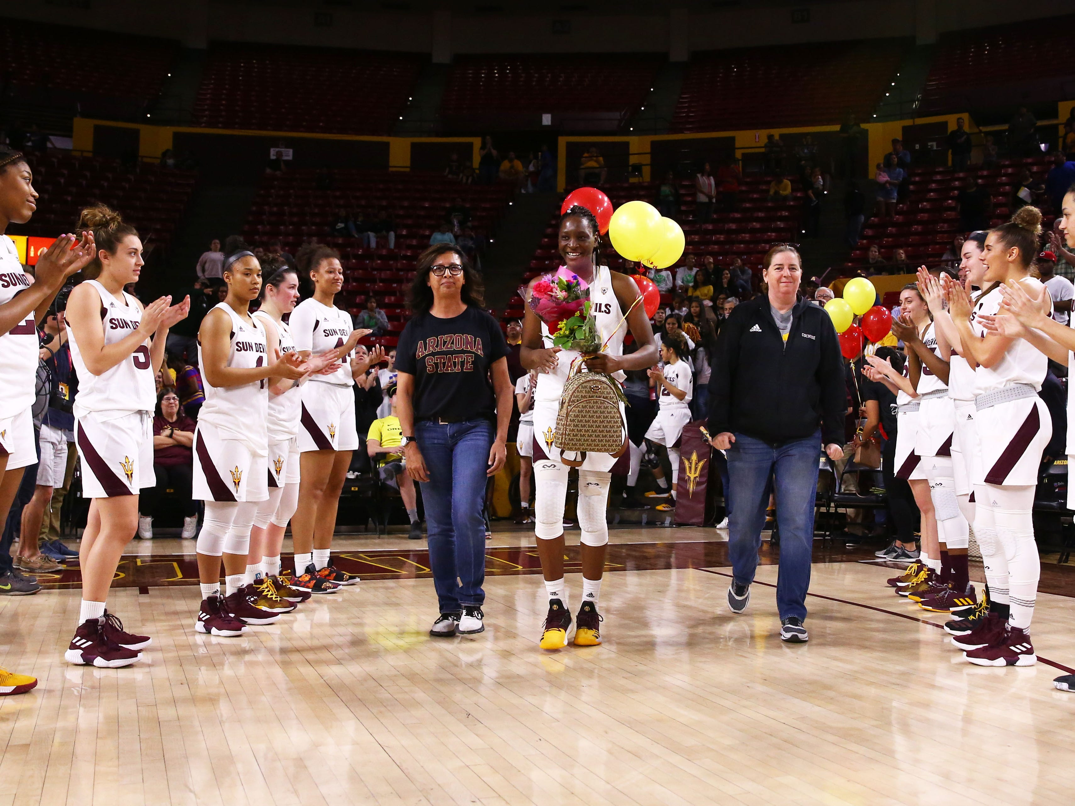 Arizona State Sun Devils forward Sophia Elenga (21) during senior day ceremonies on Mar. 3, 2019, at Wells Fargo Arena in Tempe, Ariz.