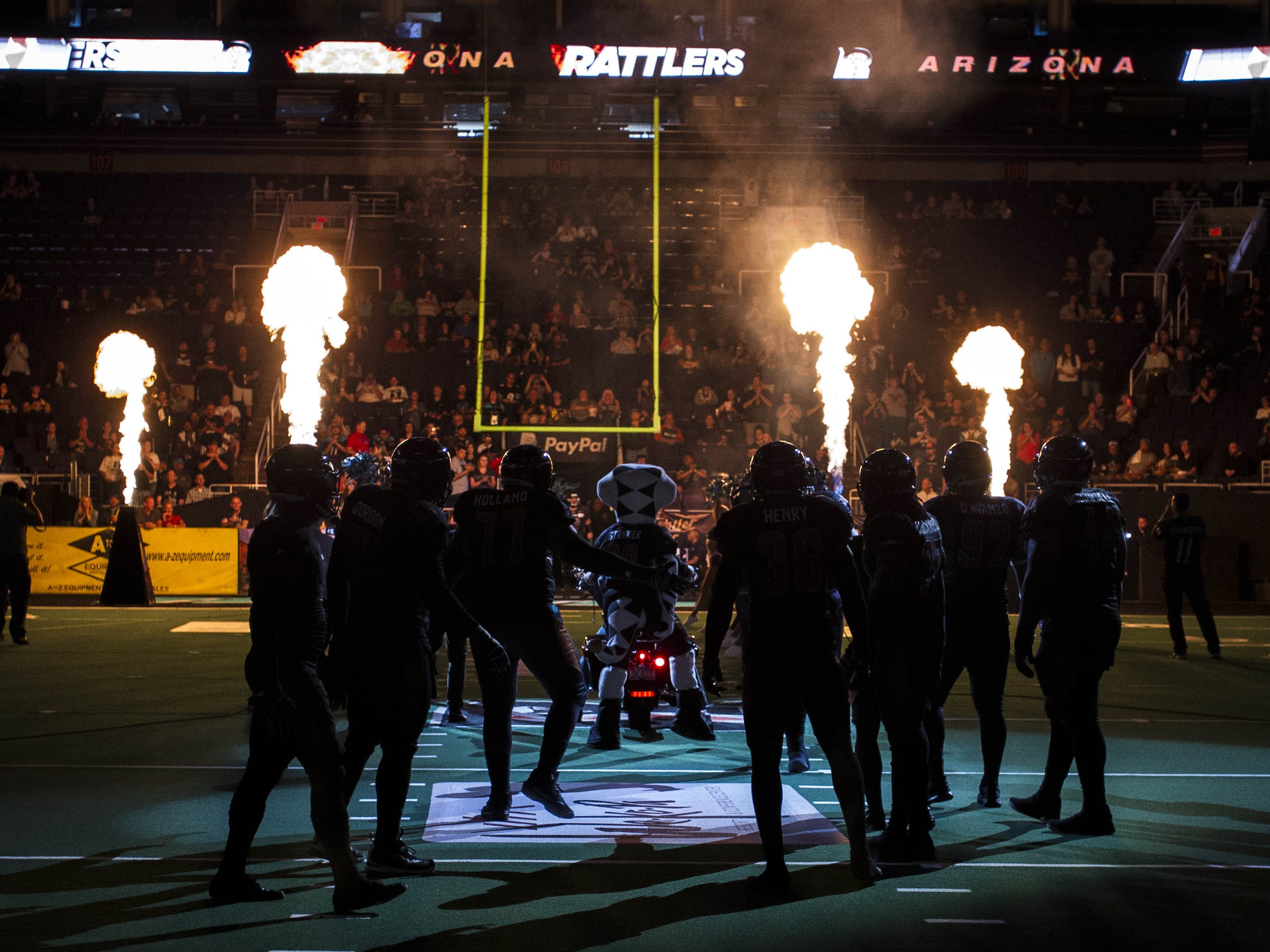 Arizona Rattlers players are introduced before their game against the Cedar Rapids River Kings at Talking Stick Resort Arena in Phoenix, Sunday, March 3, 2019.
