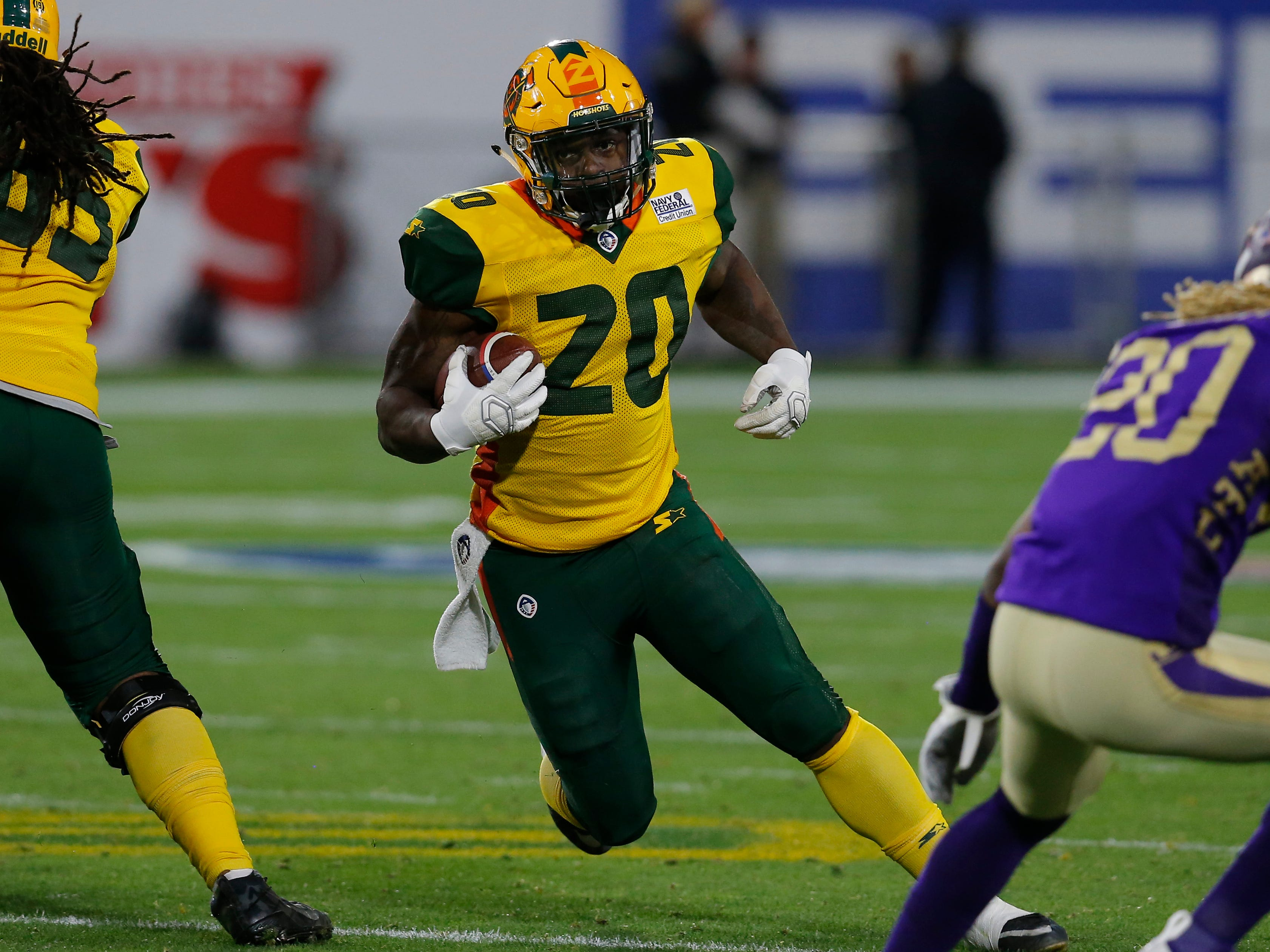 Arizona Hotshots running back Tim Cook (20) runs for a firstdown against the Atlanta Legends in the second half during an AAF football game, Sunday, March 3, 2019, at Sun Devil Stadium in Phoenix.