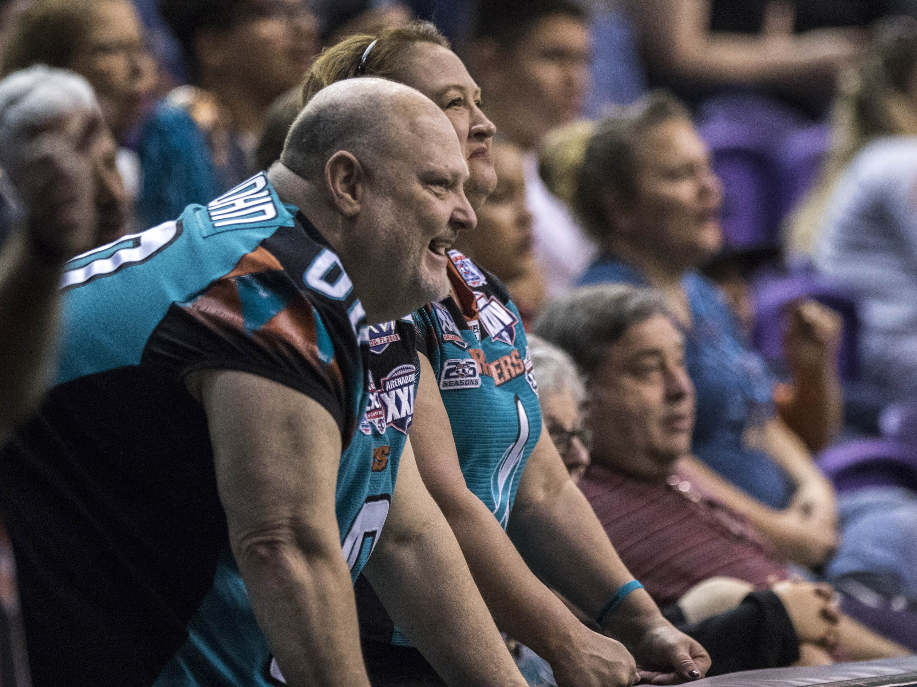 Arizona Rattlers fans enjoy their teams romp against the Cedar Rapids River Kings at Talking Stick Resort Arena in Phoenix, Sunday, March 3, 2019.