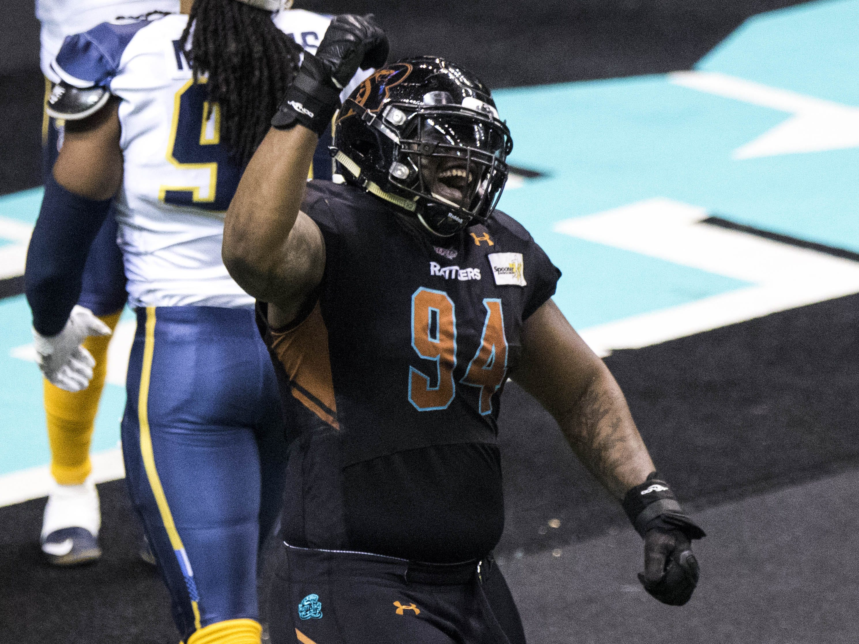 Arizona Rattlers' Lamar Mady (94) celebrates an early touchdown against the Cedar Rapids River Kings during the first half of their game at Talking Stick Resort Arena in Phoenix, Sunday, March 3, 2019.