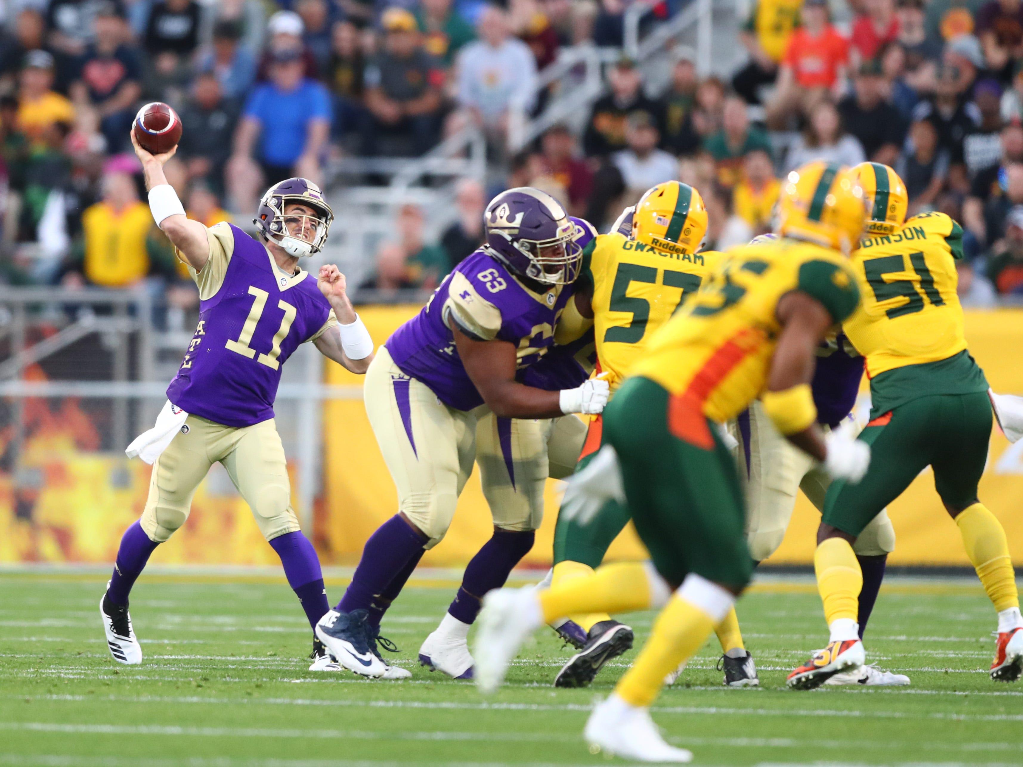 Mar 3, 2019; Tempe, AZ, USA; Atlanta Legends quarterback Aaron Murray (11) against the Arizona Hotshots during the first half of an AAF football game at Sun Devil Stadium.