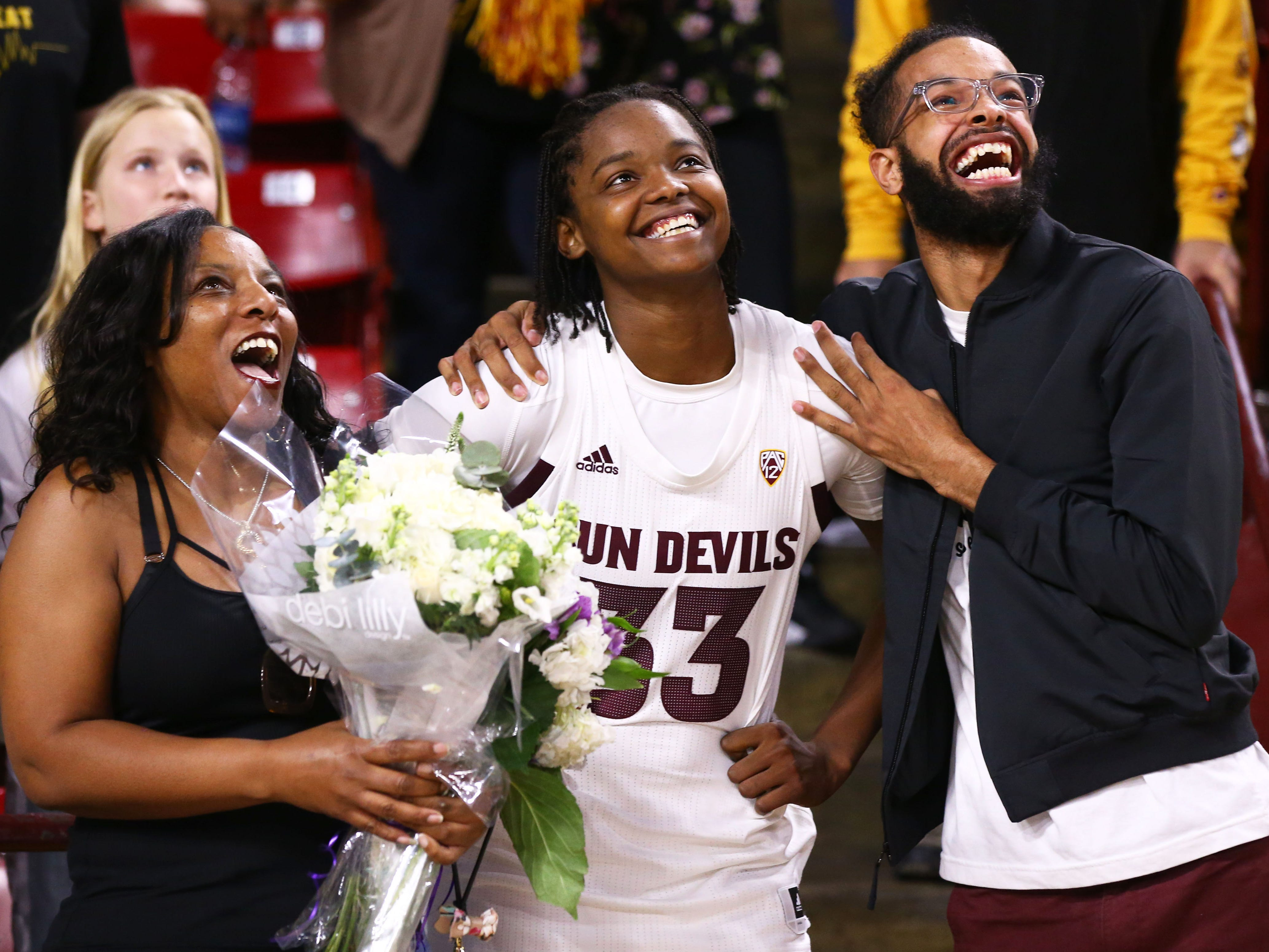 Arizona State Sun Devils center Charnea Johnson-Chapman (33) during senior day ceremonies on Mar. 3, 2019, at Wells Fargo Arena in Tempe, Ariz.