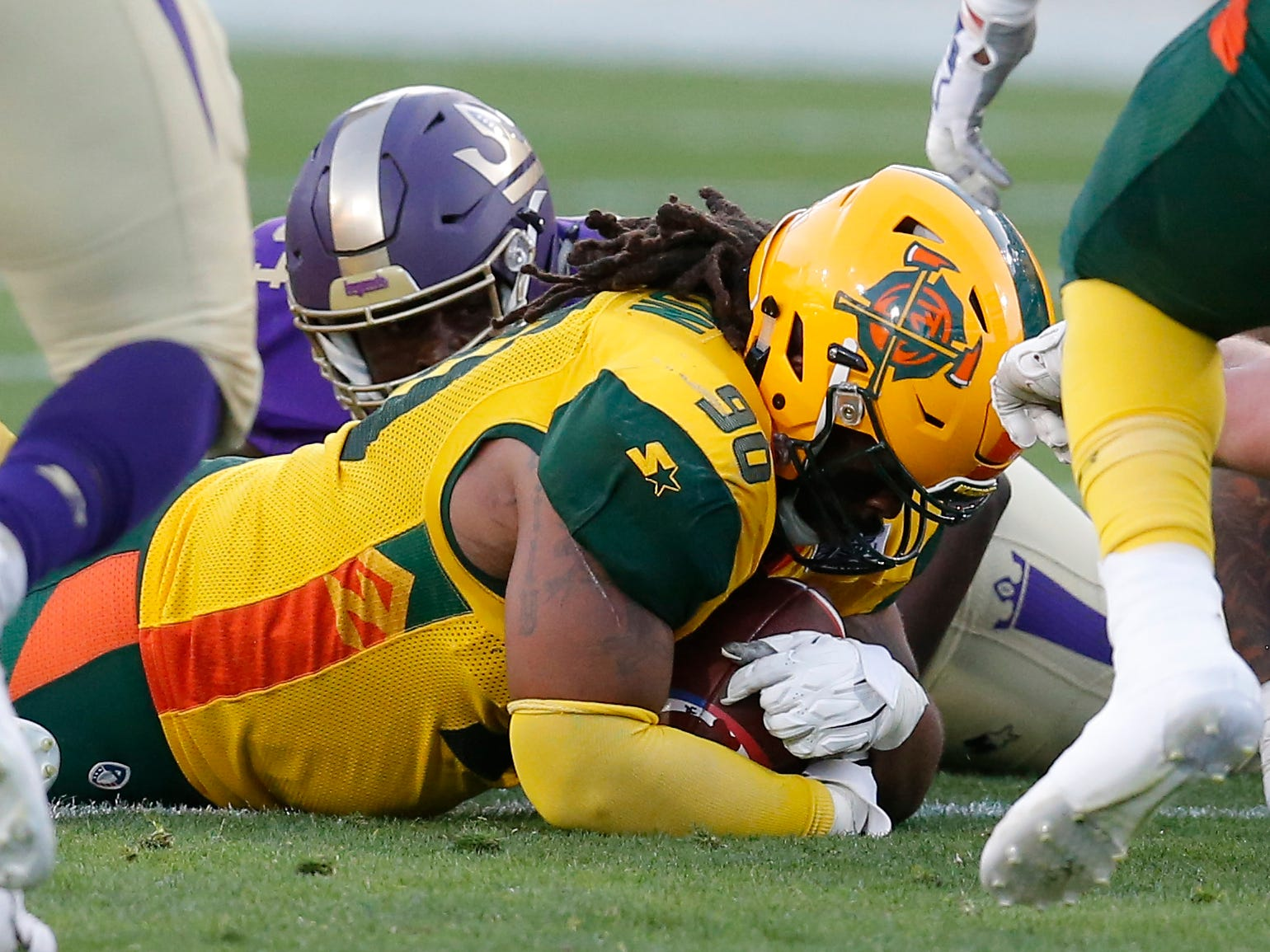 Arizona Hotshots defensive tackle Will Sutton III (90) recovers a fumble in the first half during an AAF football game against the Atlanta Legends, Sunday, March 3, 2019, at Sun Devil Stadium in Phoenix.