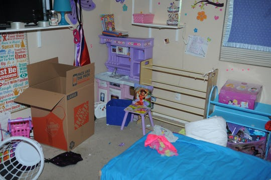 The bedroom of Arley McAdam's granddaughter on June 30, 2018 after his daughter shot and killed herself and her boyfriend.