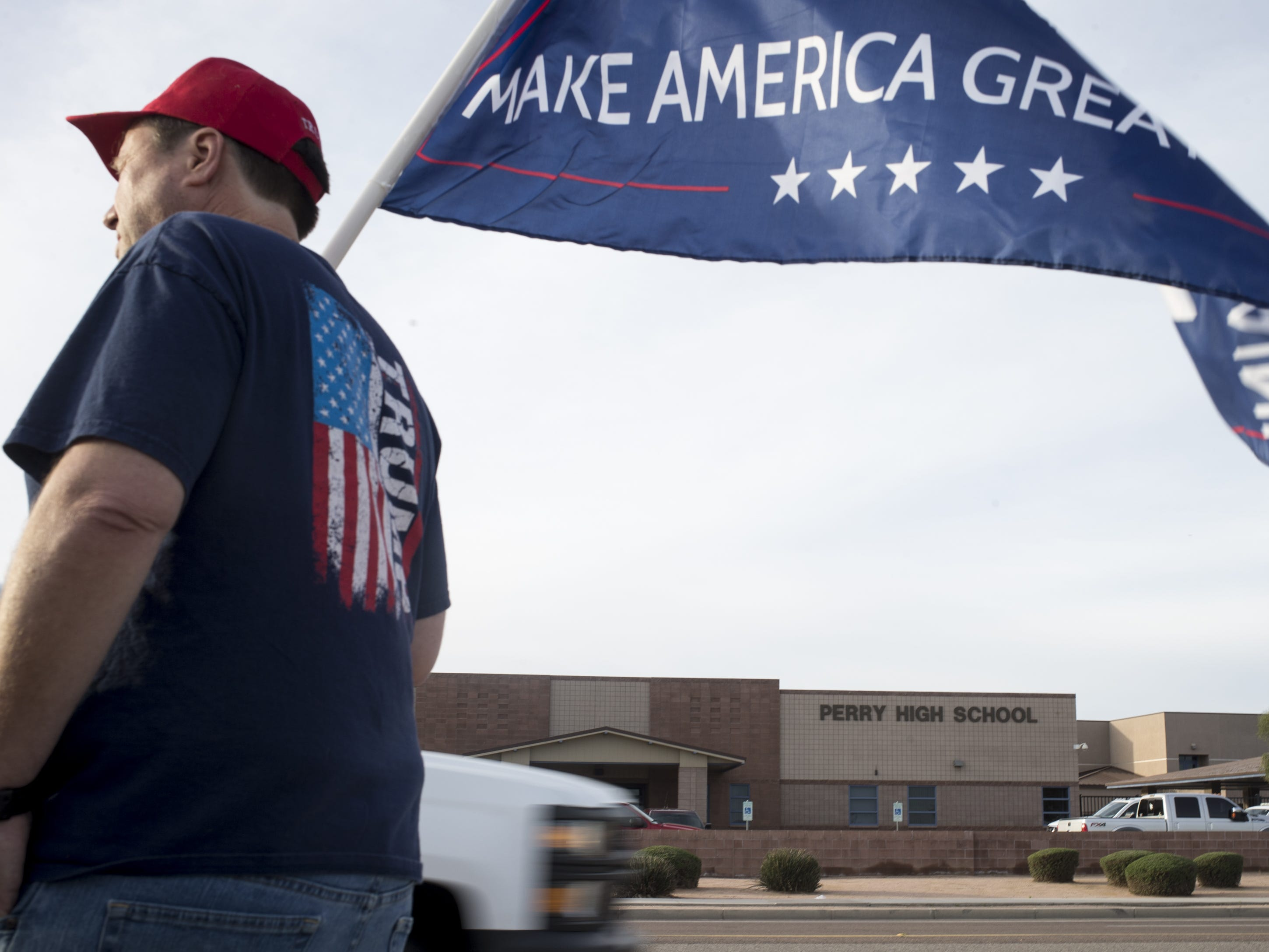 Protesters gather across from Perry High School on Queen Creek Road on March 4, 2019.