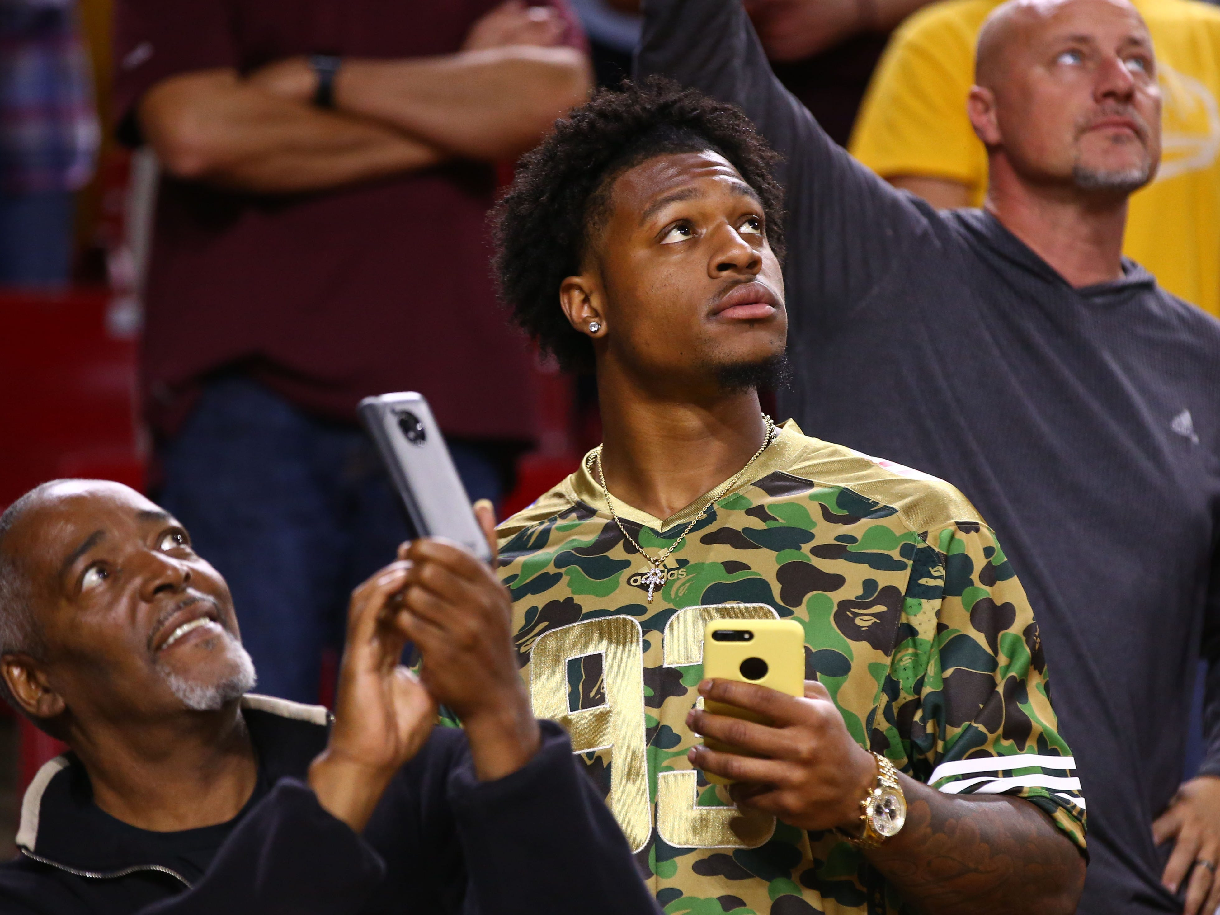 Former Arizona State Sun Devils wide receiver N'Keal Harry on Mar. 3, 2019, at Wells Fargo Arena in Tempe, Ariz.