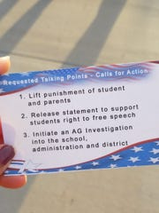 A card from protesters at Perry High School in Gilbert on March 4, 2019,  shows their requests for action.