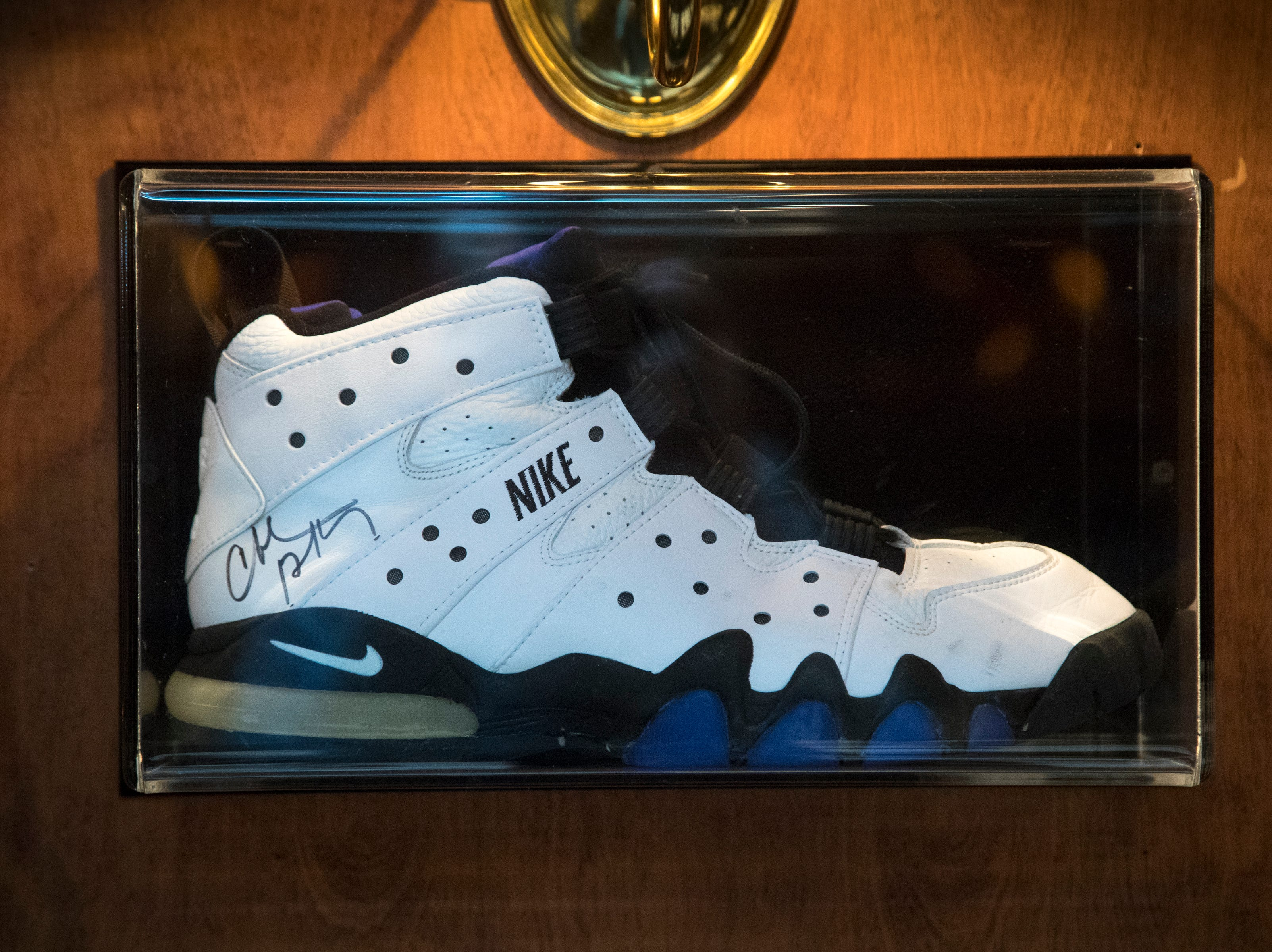 A shoe signed by Charles Barkley is seen Feb. 27, 2019, at Don & Charlie's, 7501 E. Camelback Road, Scottsdale.