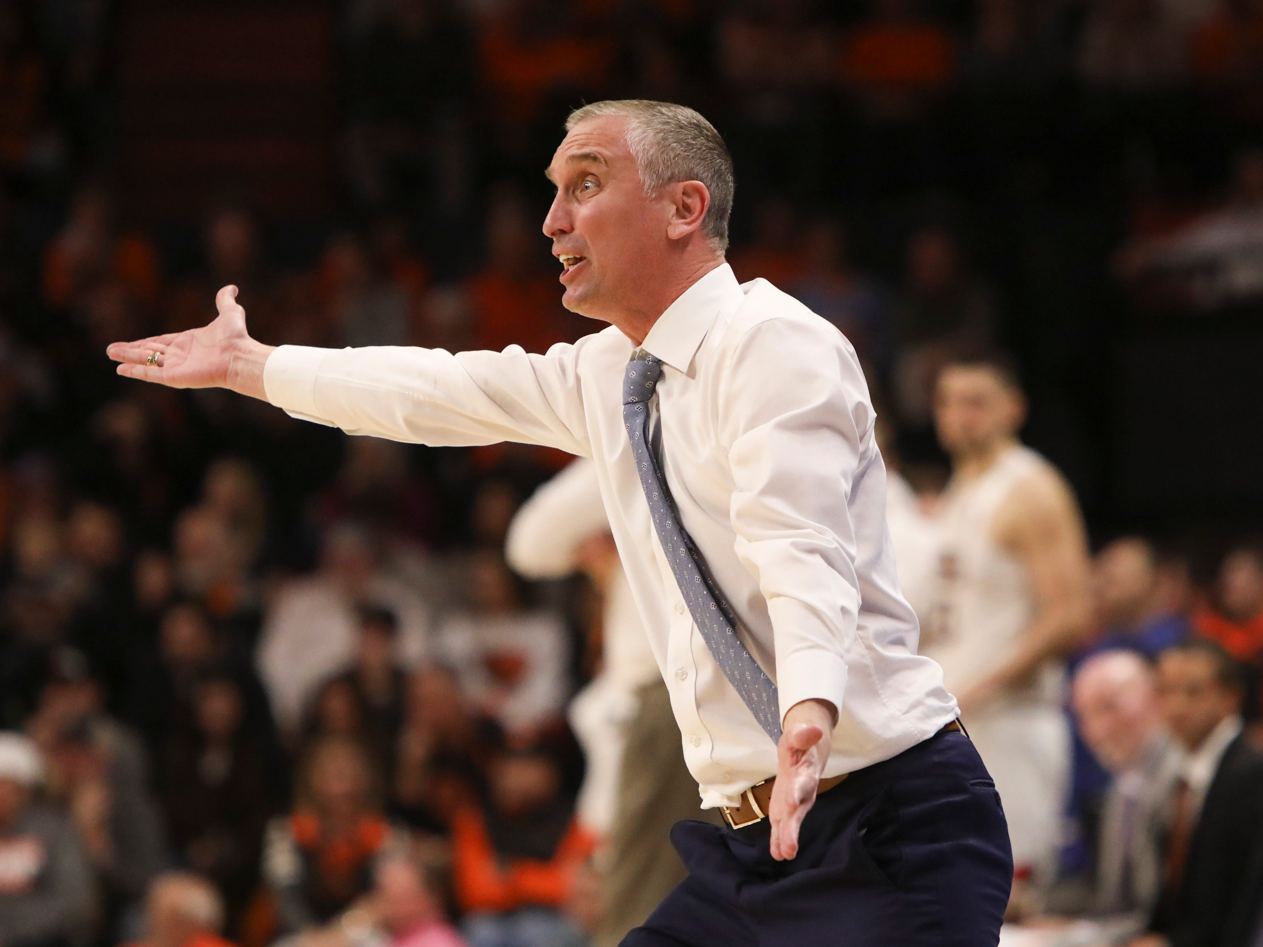 Arizona State head coach Bobby Hurley reacts to a call during the second half of an NCAA college basketball game against Oregon State in Corvallis, Ore., Sunday, March 3, 2019. Arizona State won 74-71.