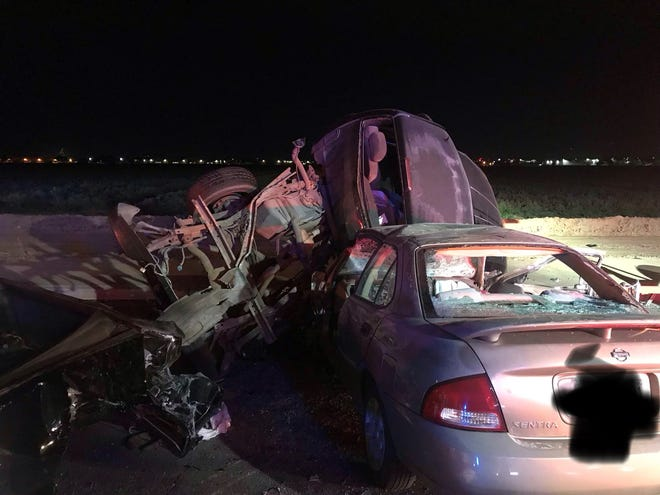 Car collision near 55th Avenue and Van Buren Street left one dead and two injured Sunday night, according to Phoenix Fire Department.