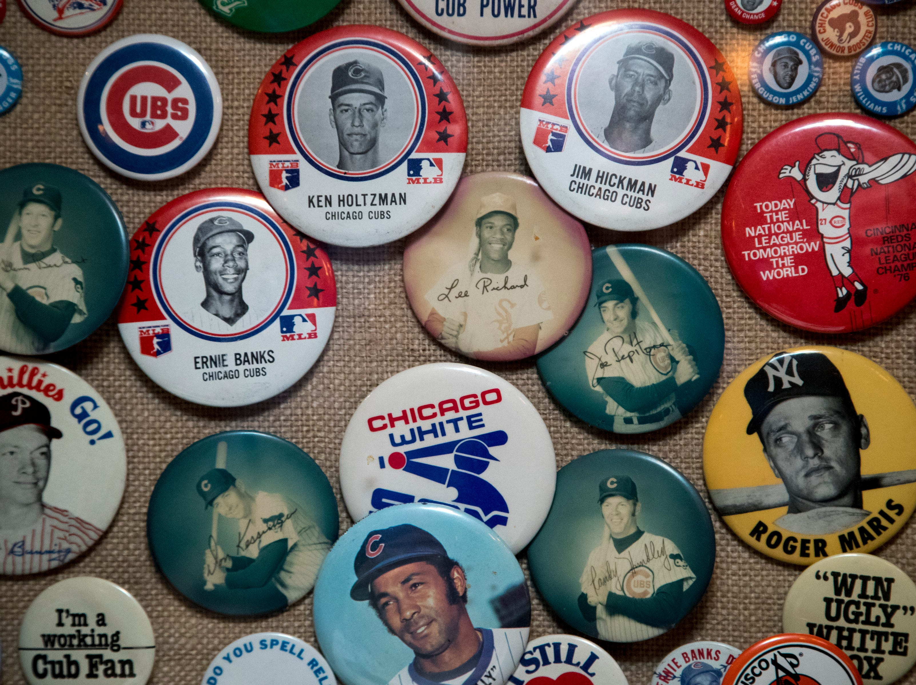 A collection of old baseball buttons is seen Feb. 27, 2019, at Don & Charlie's, 7501 E. Camelback Road, Scottsdale.