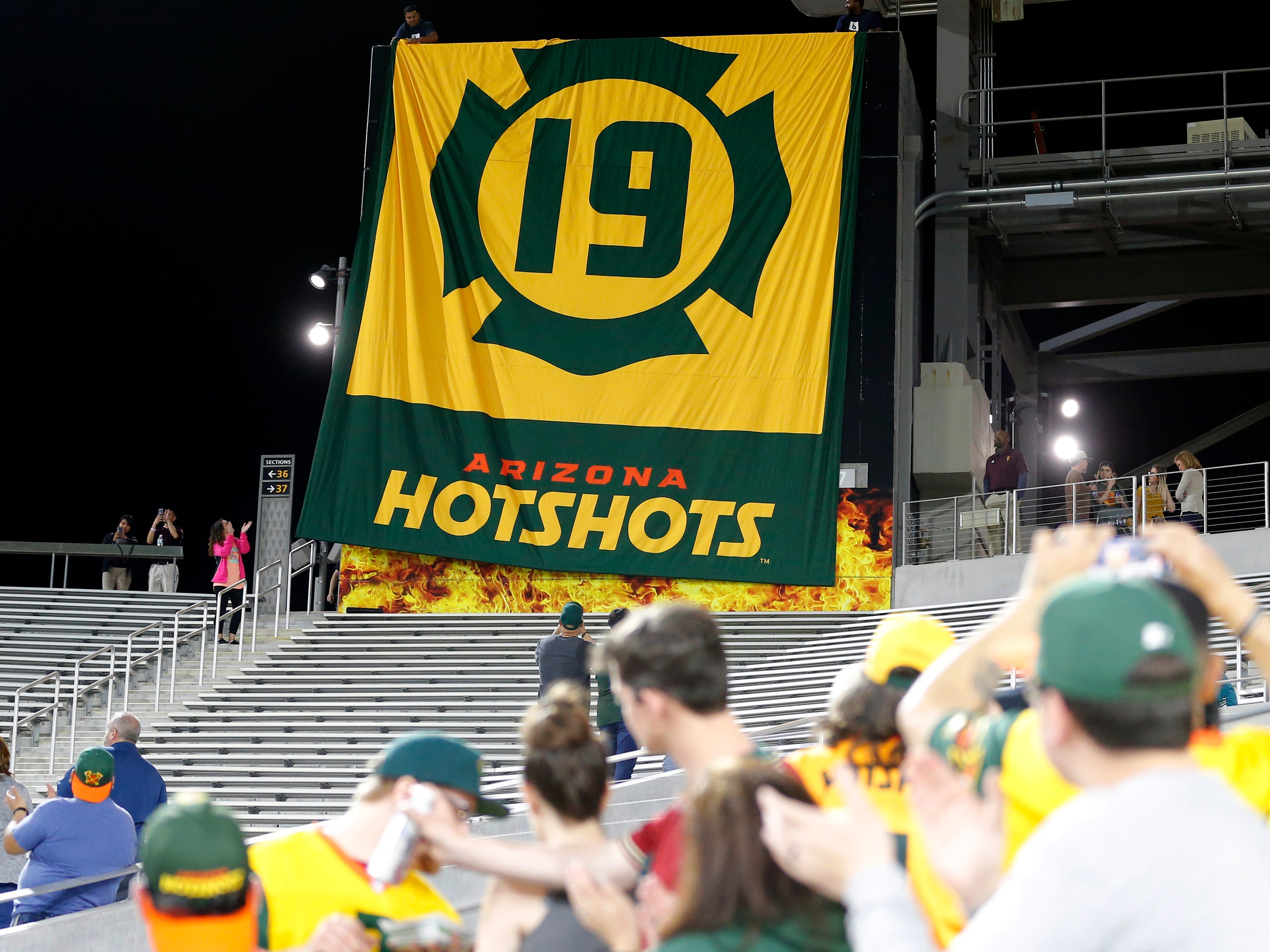 The Arizona Hotshots retire the number 19 at halftime during an AAF football game against the Atlanta Legends, Sunday, March 3, 2019, at Sun Devil Stadium in Phoenix.