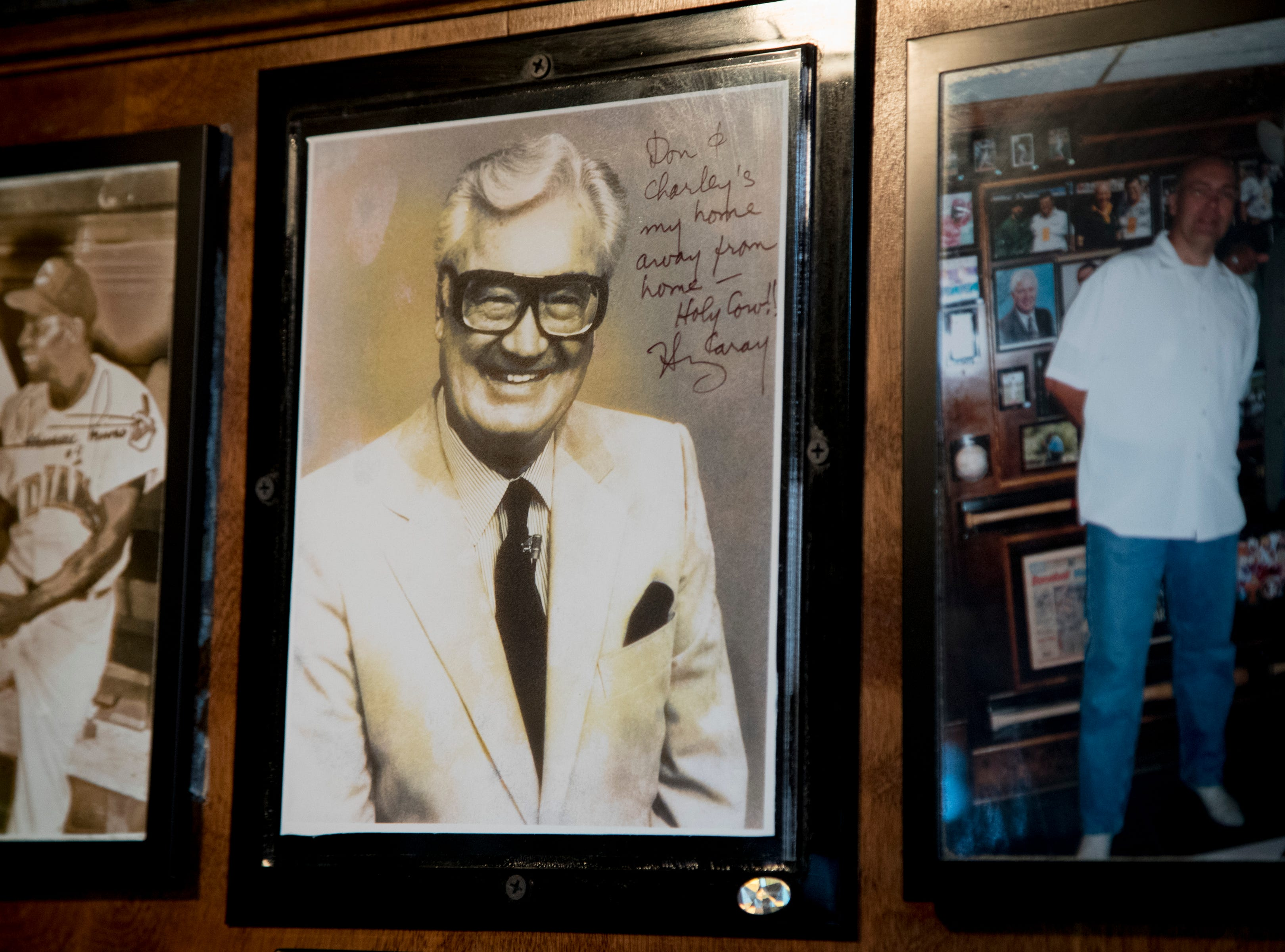 A signed photo of longtime sportscaster Harry Caray is seen Feb. 27, 2019, at Don & Charlie's, 7501 E. Camelback Road, Scottsdale.