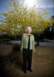 Former United States Supreme Court Associate Justice Sandra Day O'Connor poses for a portrait outside her house in Paradise Valley on May 4, 2009.