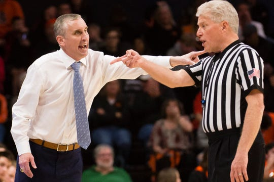 Arizona State basketball coach Bobby Hurley questions a call from an official during a game against Oregon State on March 3.