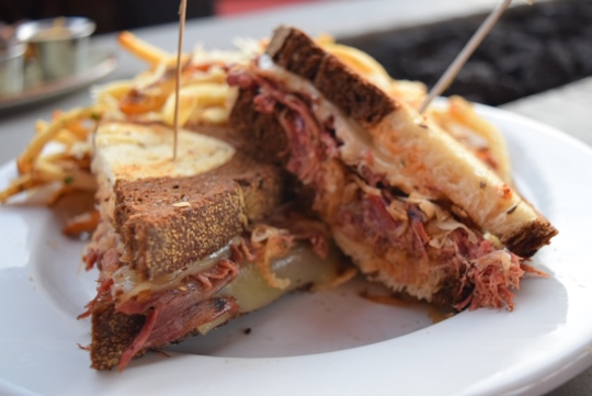 TWO BROTHERS TAP HOUSE AND BREWERY: The Brewers Reuben ($10) is made with beef brisket naturally brined in-house with Domaine DuPage, sauerkraut, Swiss cheese, and thousand island dressing on toasted marble rye. DETAILS: 4321 N Scottsdale Road, Scottsdale. 480-378-3001, twobrothersbrewing.com.
