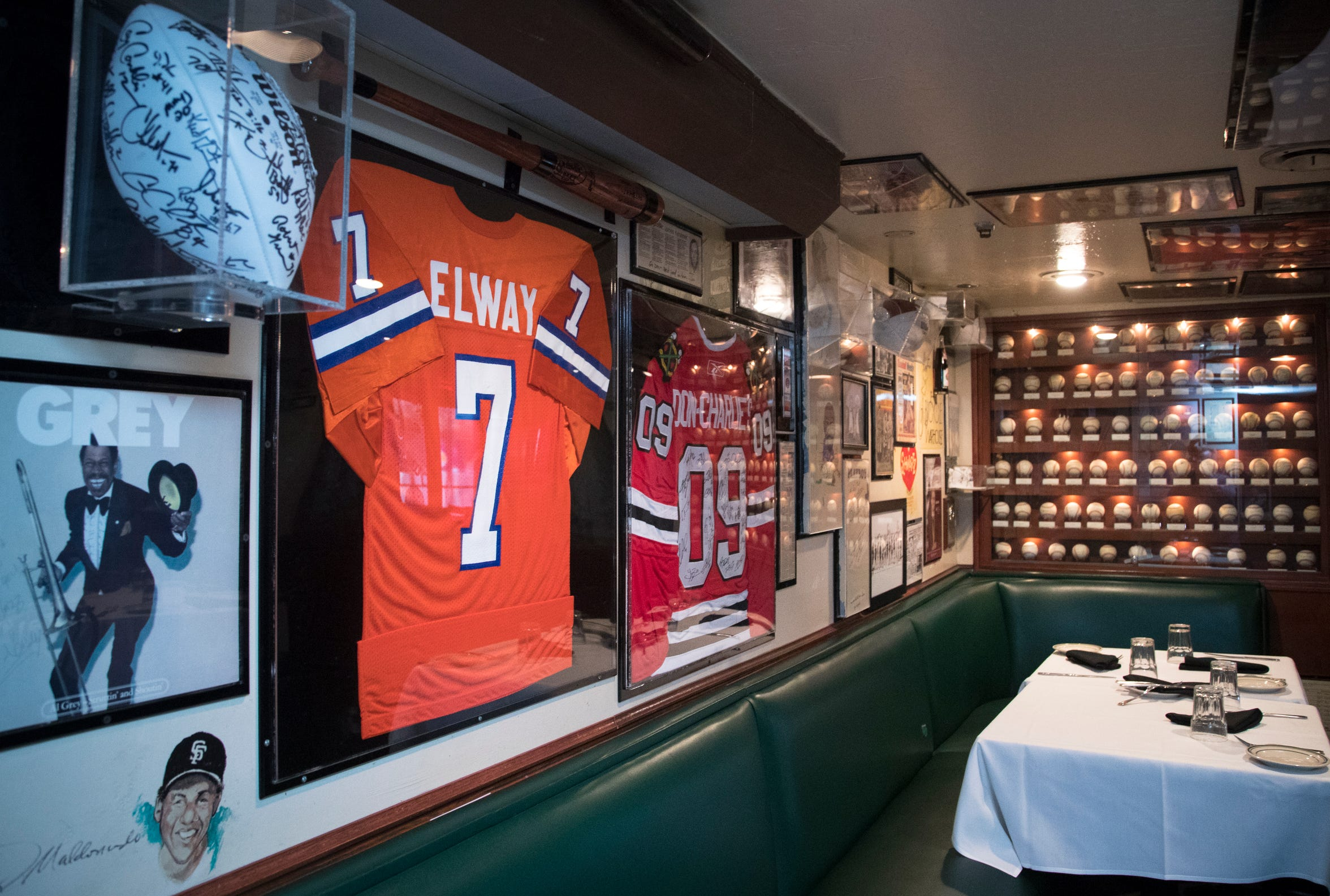 John Elway's jersey is seen Feb. 27, 2019, at Don & Charlie's, 7501 E. Camelback Road, Scottsdale.