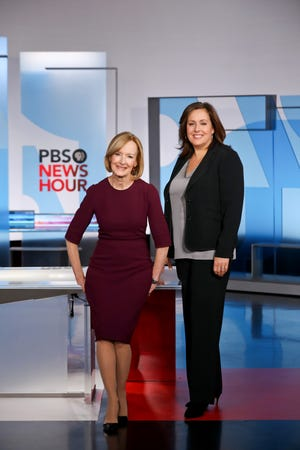 Judy Woodruff, anchor of PBS NewsHour, and Sara Just, the show's executive producer.