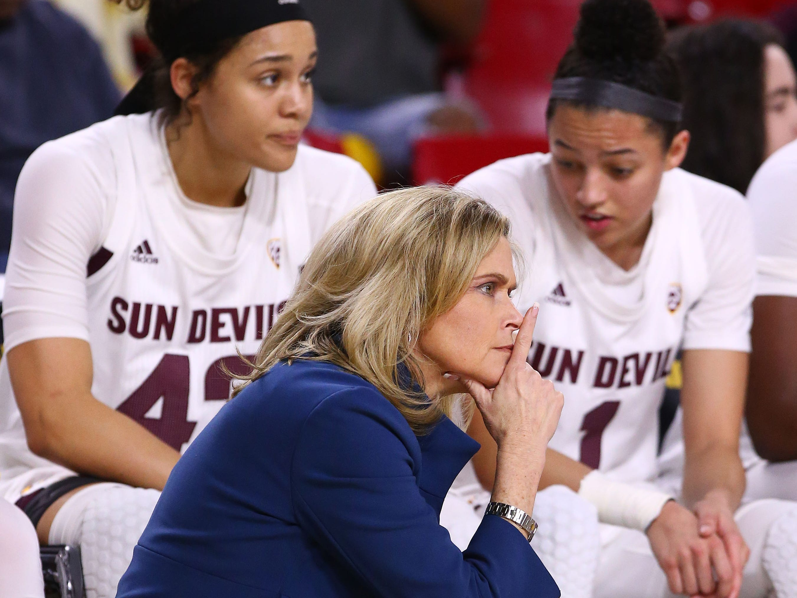 Arizona State head coach Charli Turner Thorne against the Oregon Ducks in the second half on Mar. 3, 2019, at Wells Fargo Arena in Tempe, Ariz.
