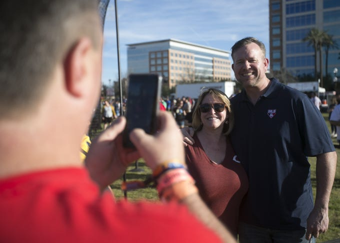 Former MLB first baseman Sean Casey signs autographs at the Innings Festival at Tempe Beach Park on March 3, 2019.