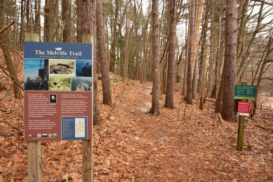 To the right of the signboard is the start of Hickey Trail.