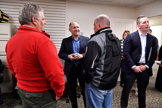 U.S. Rep. Lloyd Smucker meets with constituents while hosting an open house at his new Red Lion office, Monday, March 4, 2019. The office is located at 100 Redco Avenue and is shared with State Rep. Stan Saylor.  