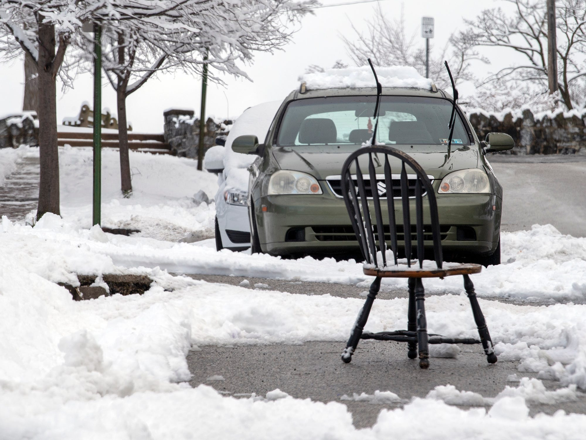 A snow day in York wouldn't be complete without a chair saving a parking space and wipers up. City police remind residents it's illegal to save those spots, even after the hard work spent digging them out.