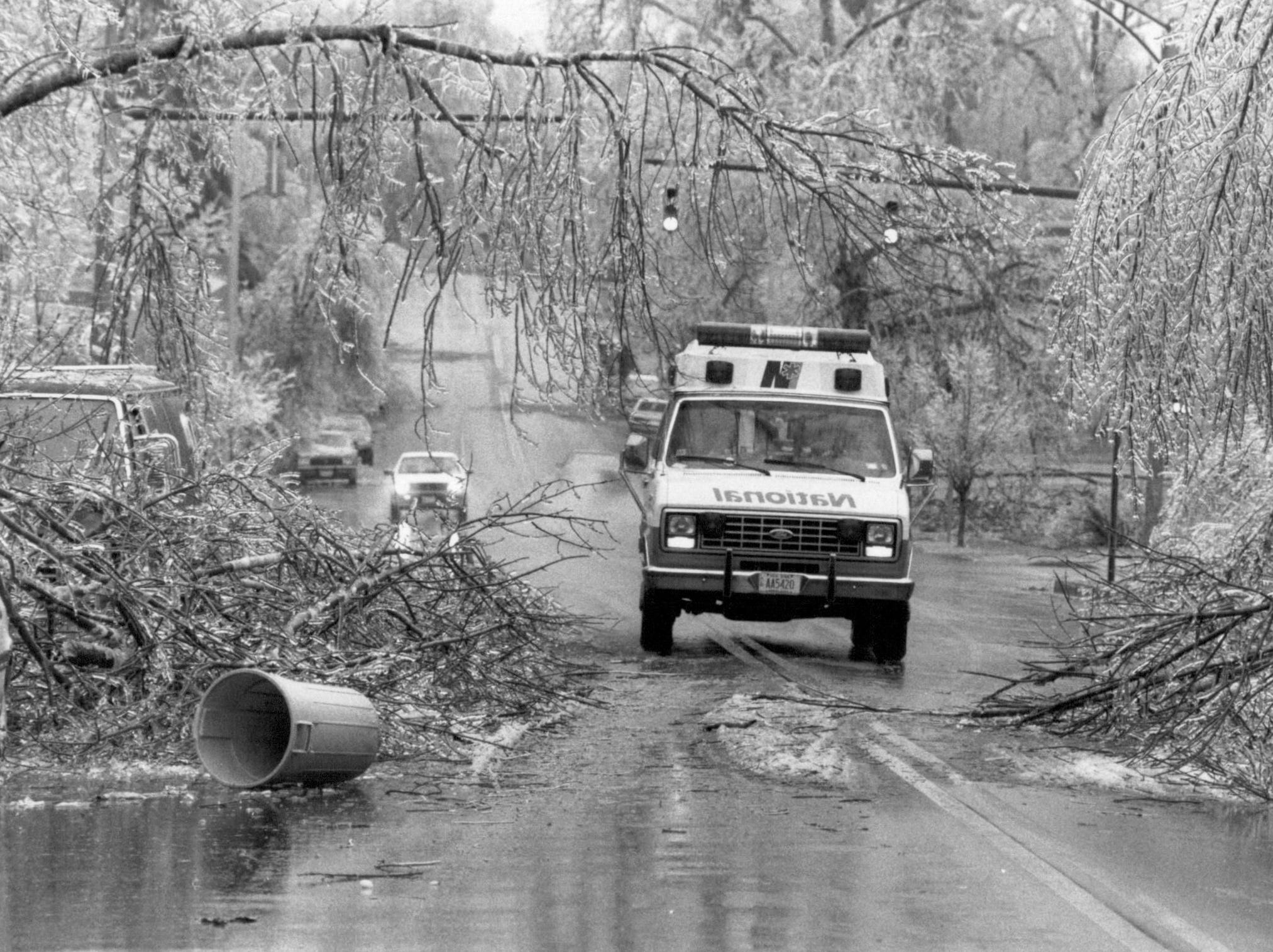 An ambulance tries to navigate South Avenue during the ice storm that struck the Rochester region in March, 1991.