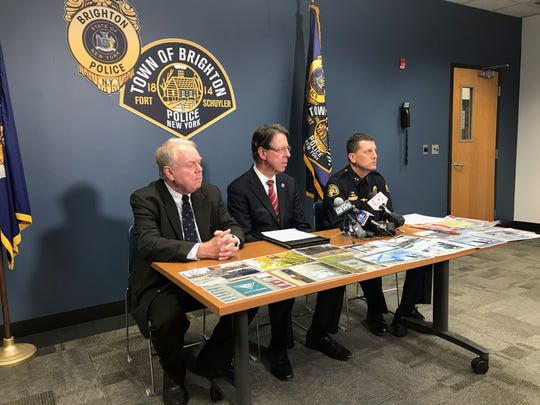 Pittsford Town Supervisor Bill Smith, Brighton Town Supervisor Bill Moehle and Brighton Police Chief Mark Henderson discuss how they identified a 23-year-old University of Rochester student as the suspect who allegedly placed white supremacist fliers around Brighton last fall during a press conference on Monday, March 4, 2019.