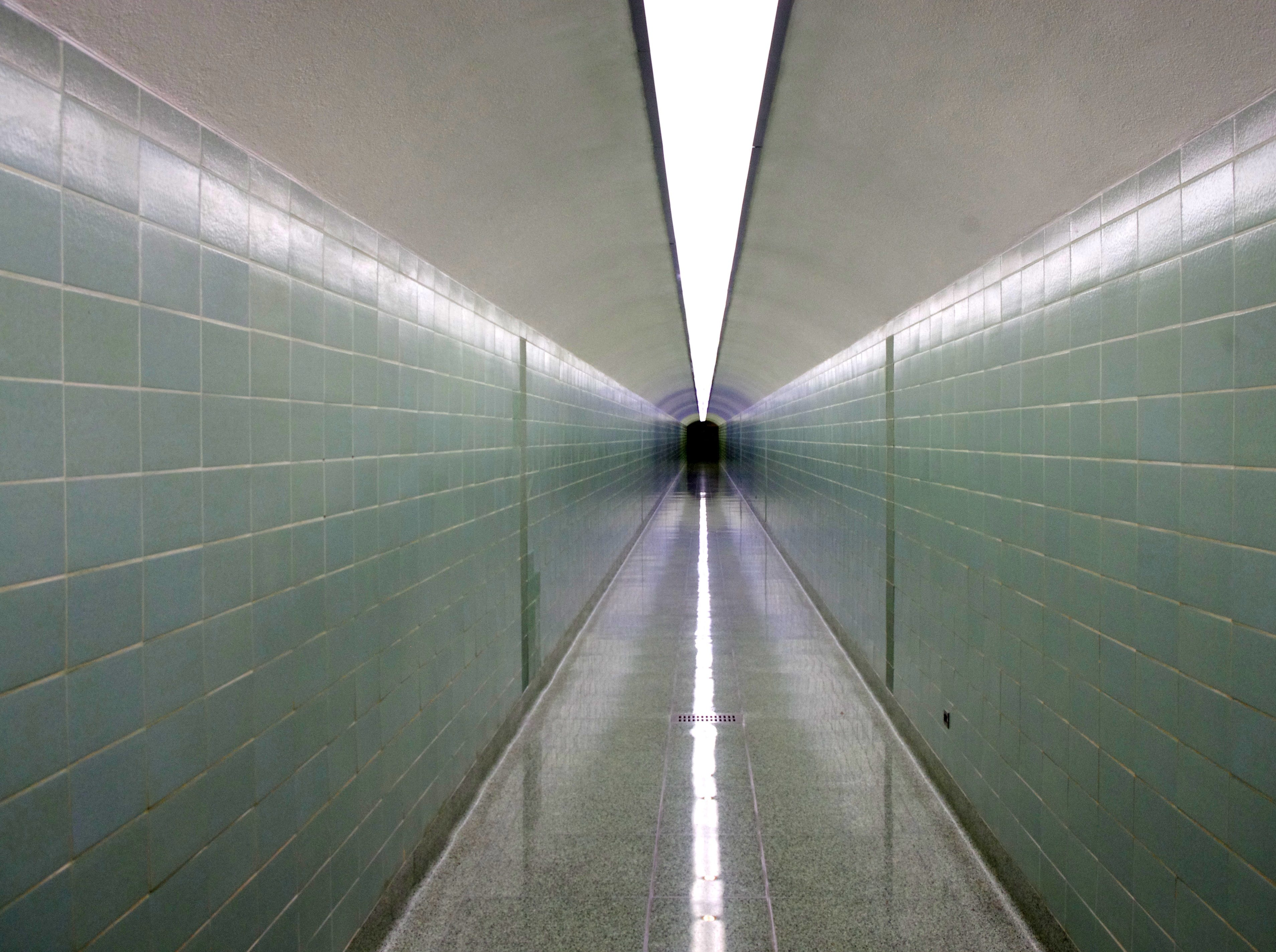 The hallways inside Shasta Dam are mostly empty of tourists going through tours of the dam. The U.S. Bureau of Reclamation, which operates the dam, has suspended tours while the elevators in the dam are refurbished.