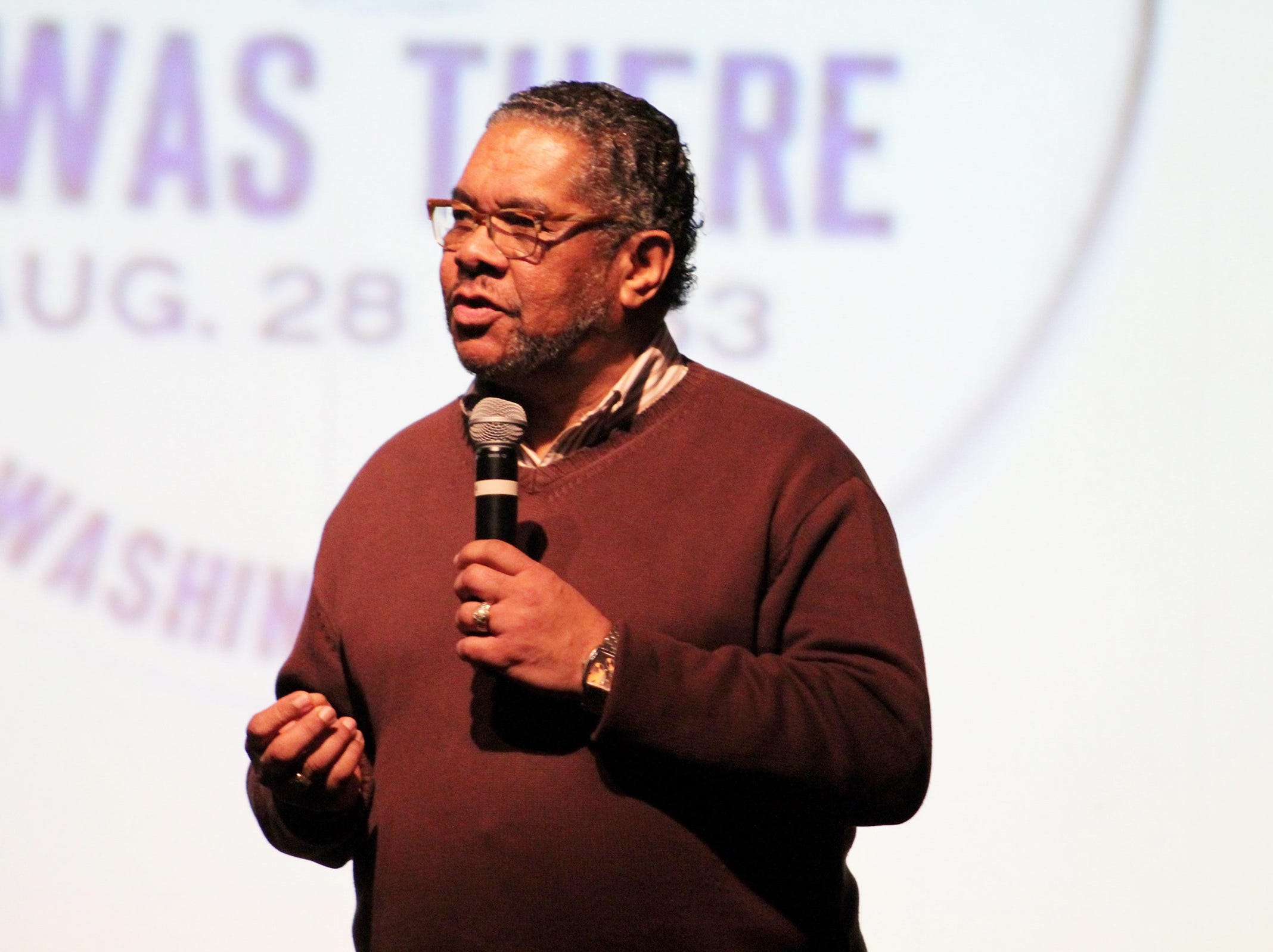 Ronnie Brooks, parent outreach coordinator at McKay, speaks at the Black History Month Community Event at McKay High School in Salem on Thursday, Feb. 28, 2019. About 100 people attended the Salem-Keizer event, which included music, dancing, poetry and tributes to prominent black leaders throughout United States history.