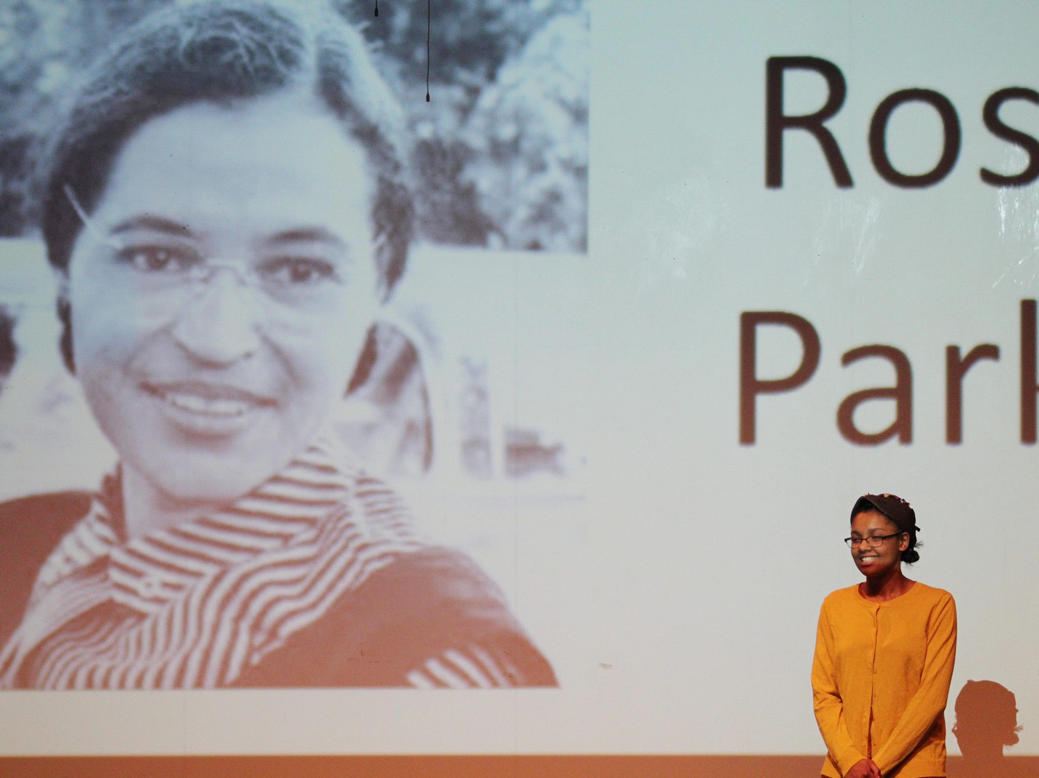 McKay senior Lataya Forks pays tribute to activist Rosa Parks at the Black History Month Community Event at McKay High School in Salem on Thursday, Feb. 28, 2019.