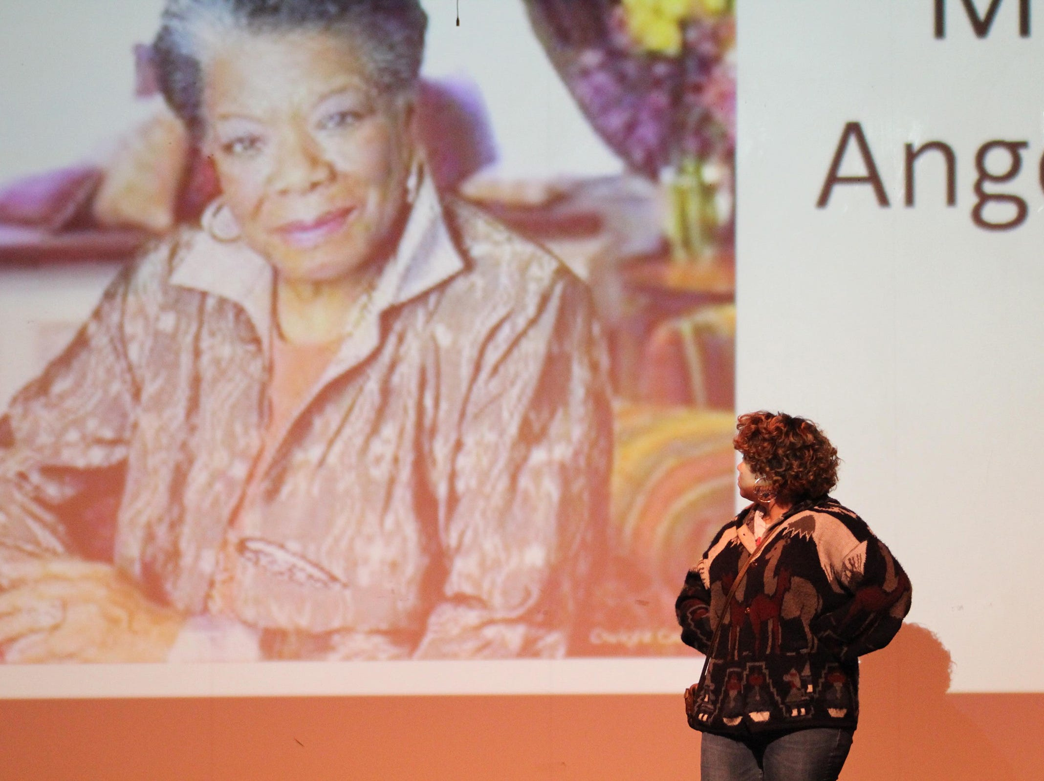 North Salem senior Alexia Walton pays tribute to poet Maya Angelou at the Black History Month Community Event at McKay High School in Salem on Thursday, Feb. 28, 2019. About 100 people attended the Salem-Keizer event, which included music, dancing, poetry and tributes to prominent black leaders throughout United States history.