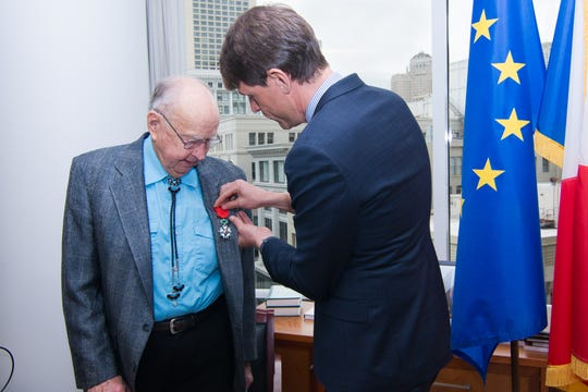 French Consul General in San Francisco, Emmanuel Lebrun-Damiens, awards Dr. Duane Hyde the Legion of Honour Medal, France's highest honor.
