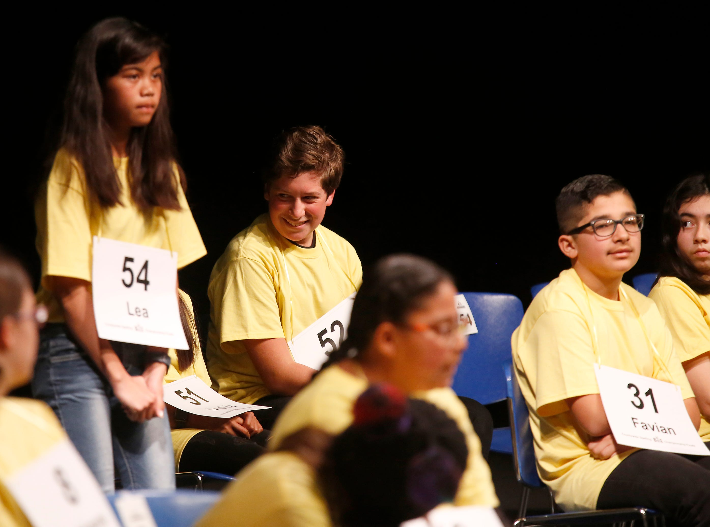 Los Arboles Middle School seventh grader Max Stefanioutine reacts after spelling a word correctly during the Monterey County Office of Education's 2019 Countywide Spelling Bee.