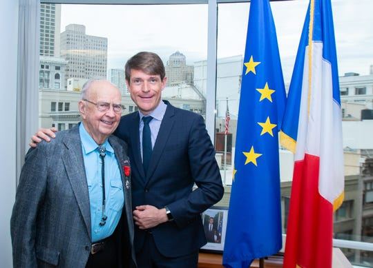 Dr. Duane Hyde, left, poses with French Consul General in San Francisco, Emmanuel Lebrun-Damiens, on Feb. 12.