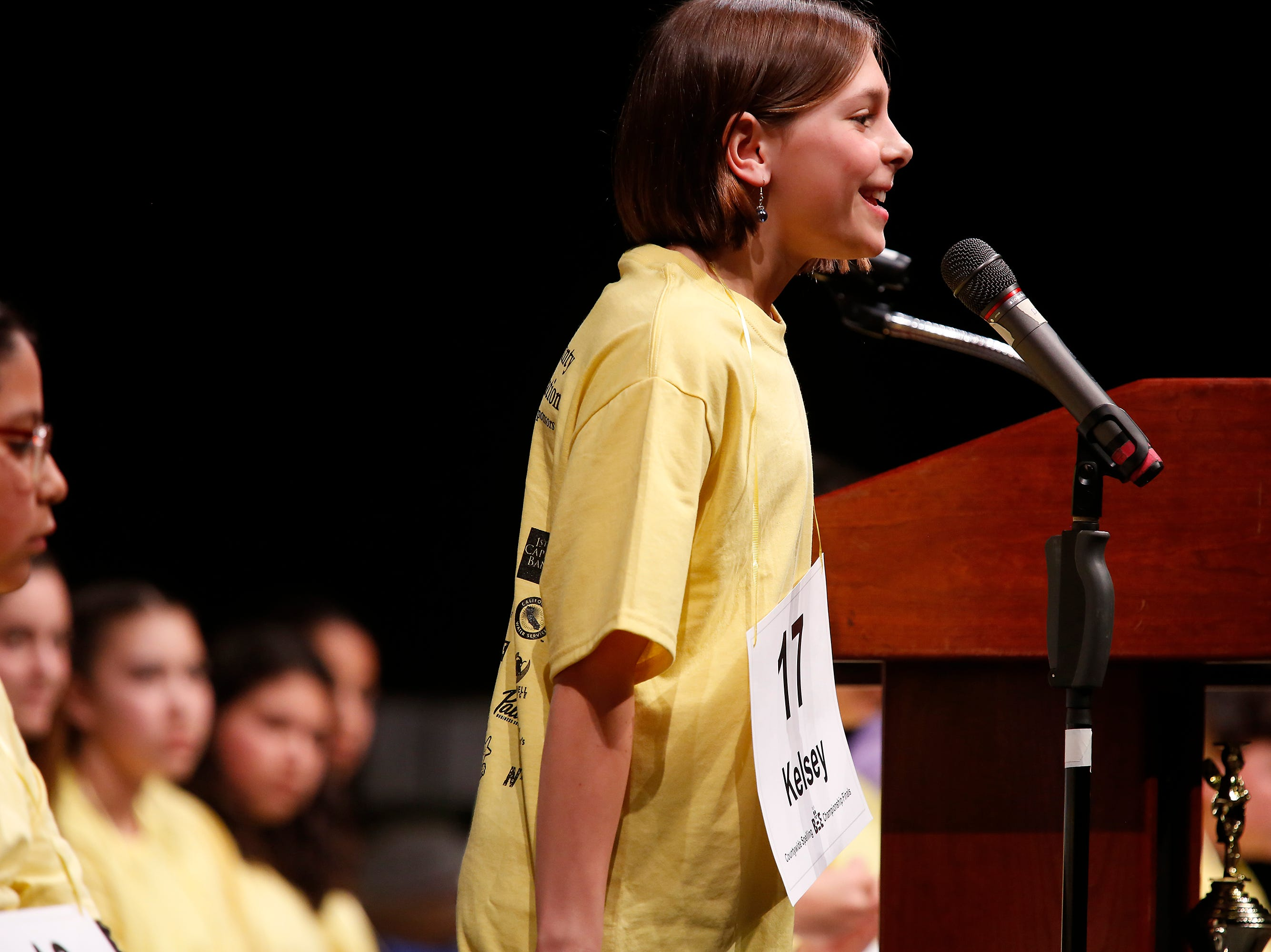 Walter Colton Middle School seventh-grader Kelsey Dodge reacts after spelling a word correctly during the Monterey County Office of Education's 2019 Countywide Spelling Bee.