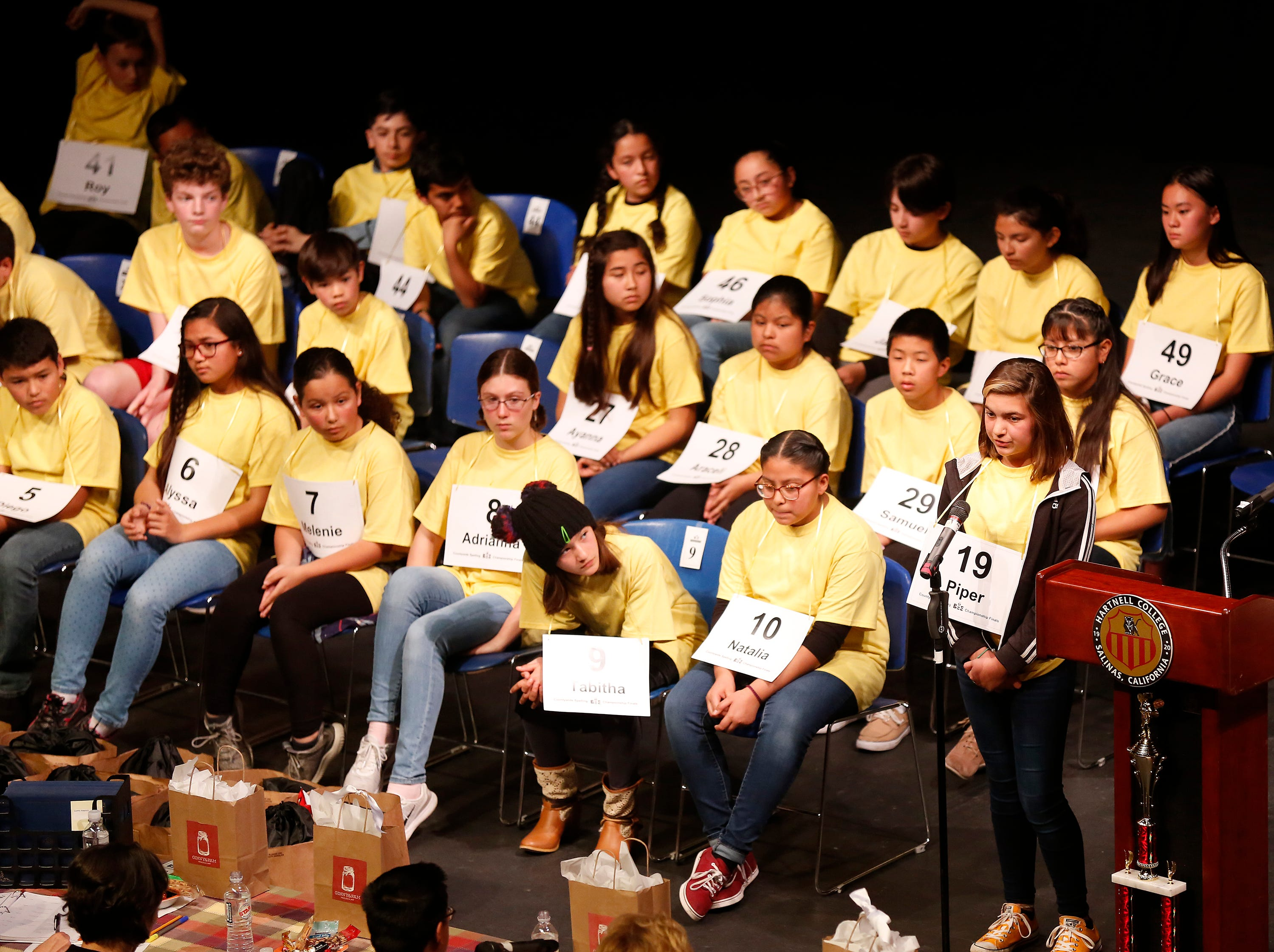 Elkhorn Elementary sixth-grader Piper Gallego spells a word during the Monterey County Office of Education's 2019 Countywide Spelling Bee.