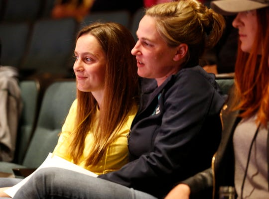 Buena Vista Middle School seventh-grader Dylan Paladino is embraced by her mother Kristen after she finished in the top ten during the Monterey County Office of Education's 2019 Countywide Spelling Bee.