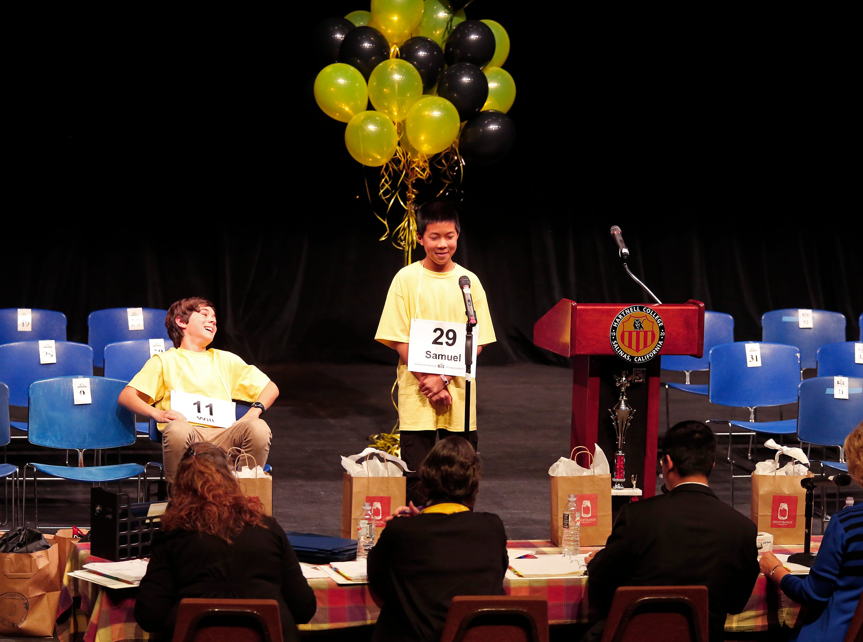 "Pacific Grove Middle School eighth-grader William Coen reacts after hearing that Washington Middle School eighth grader Samuel Low's final word to spell would be ""impossible"" at the end of the Monterey County Office of Education's 2019 Countywide Spelling Bee."