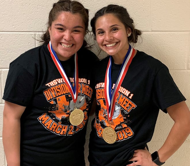 San Angelo Central High School's Allaire Montalvo (left) and Kenzee Talamantez will compete in the state powerlifting championships in Waco on March 15-16, 2019.