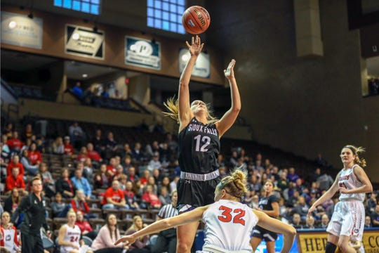 USF's Kaely Hummel goes up for a basket Monday in the NSIC tournament