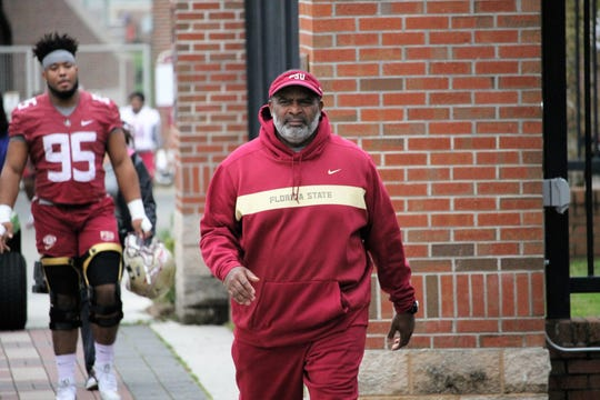 FSU defensive line coach Odell Haggins at FSU's first spring practice of 2019.