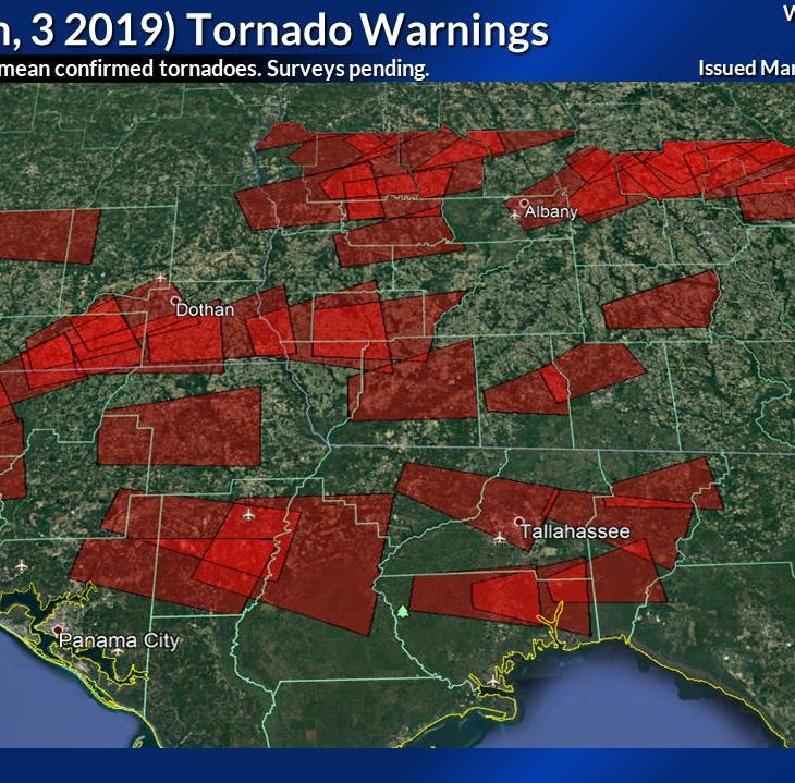 At least three tornadoes confirmed in north Florida, south Georgia Sunday