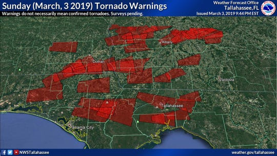 A storm system that spun off deadly tornadoes across the South also generated a flurry of tornado warnings