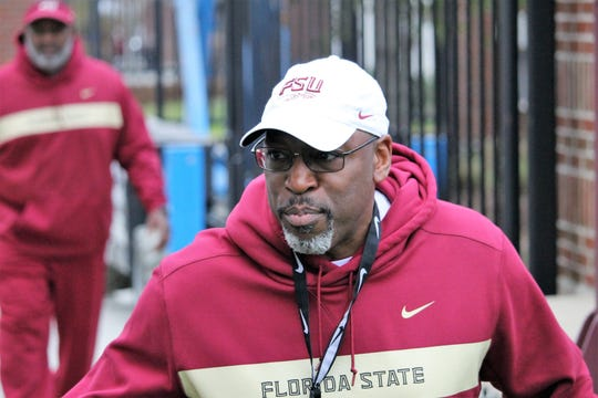 FSU defensive coordinator Harlon Barnett at FSU's first spring practice of 2019.