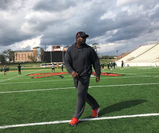 FAMU football head coach Willie Simmons looks over the offense during the first day of spring camp on Sunday, March 3, 2019.