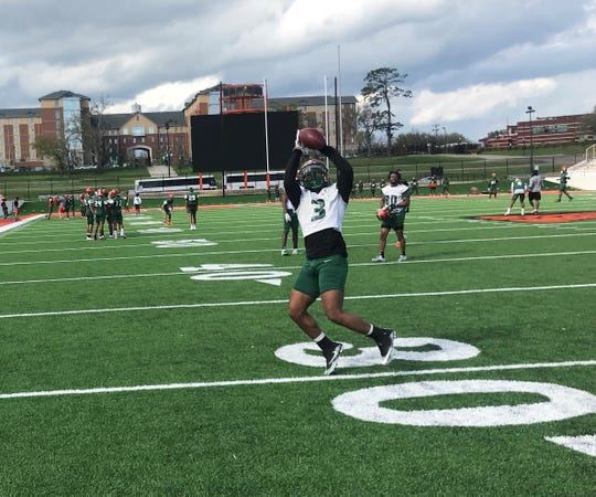 FAMU wide receiver Azende Rey hauls in a catch during the first day of spring practice on Sunday, March 3, 2019.