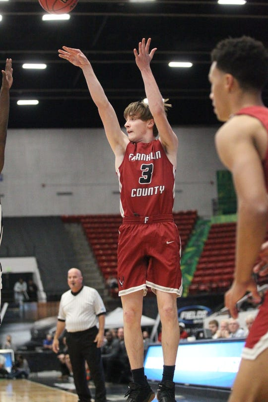 Franklin County junior Grady Escobar drills a 3-pointer as the Seahawks lost 76-62 to Wildwood during a Class 1A state semifinal at the RP Funding Center in Lakeland on March 4, 2019.